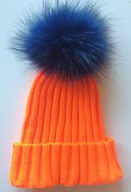 blue and orange fur bobble pom pom hat
