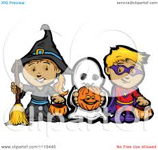 kids halloween clip art cartoon of halloween kids in witch ghost and super hero costumes