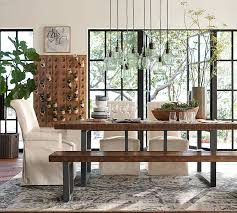Sofa For Dining Table by Griffin Reclaimed Wood Fixed Dining Table Pottery Barn