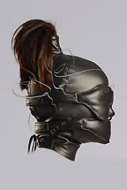 leather mask leather ponytail leather blindfold muffle vegan