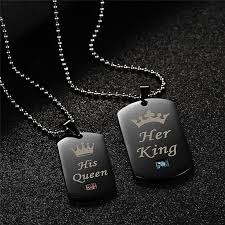 his and hers dog tags his and king army dog tag pendant necklace for couples