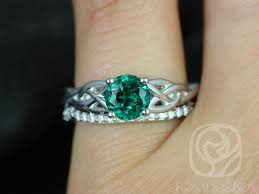 celtic wedding ring sets rosados box cassidy 6mm white gold emerald diamond celtic