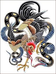 traditional blue belly snake and rooster tattoo design