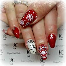 red christmas sweater coffin nails with reindeer sugarcoat