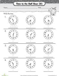 on the half hour telling time with clockwork cat telling time
