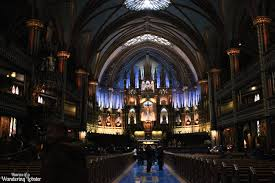 basking in the blue light of the notre dame basilica montreal