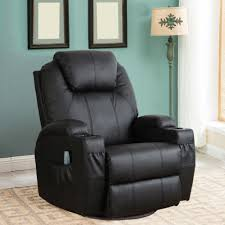 Black Leather Recliner Chairs Massage Recliner Chair Heated Pu Leather Ergonomic Lounge 360