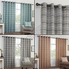 Blue Grey Curtains Textured Check Striped Ring Top Lined Pair Eyelet Curtains