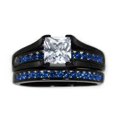thin blue line wedding band thin blue line stainless steel princess cut cz wedding ring two