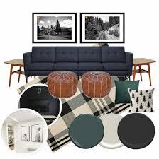 basement living room mood board bright green door