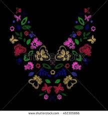 floral pattern neck line designs vector stock vector 462305866