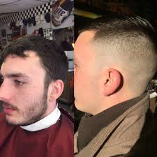 razor fade into finger length on the top with a full face