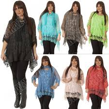 Plus Size Lagenlook Clothing Italian Lagenlook Quirky 2 Pcs Mesh Net 3d Floral Lace Scarf Top