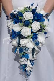 wedding flowers blue and white shop scottish bridal bouquet w white roses blue thistles foliage