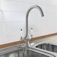 KBR Traditional Monobloc Kitchen Sink Mixer Tap Brushed - Brushed steel kitchen sinks