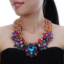 resin beaded necklace images Fashion handmade acrylic resin bead chain pendant choker statement jpg