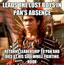 Hook Meme - leads the lost boys in pan s absence returns leadership to pan and
