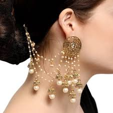 jhumka earrings buy craftsvilla golden and white attractive bahubali chain