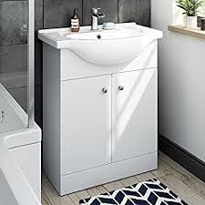 veebath linx bathroom white gloss vanity unit basin sink 650mm