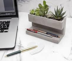 plant on desk kikkerland large concrete desktop planter pen pencil holder