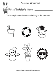 free preschool summer worksheet