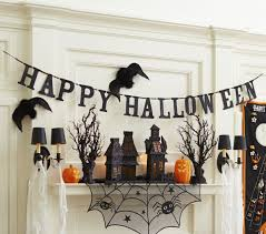 black glitter hallloween garland happy banner hounted