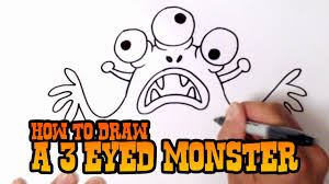 draw 3 eyed monster step step video