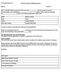 Free Sle Of Bill Of Sale For Used Car by Printable Motorcycle Bill Of Sale Form Mochabaydesign Com