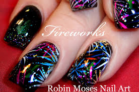 easy firework nail art design diy 4th of july nails tutorial