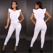 all white womens jumpsuit 2017 fall winter romper suits nightclub ruffles jumpsuit