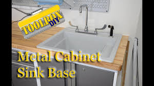 how to make a sink base cabinet convert a metal cabinet to a sink base version