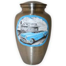 memorial urns driving in style blue chevy convertible custom memorial urn
