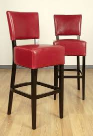 bennett 24 inches red faux leather high back bar stools set of 2