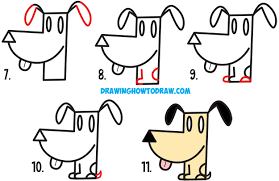 how to draw a cartoon dog from an arrow shape easy step by step