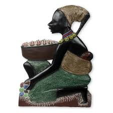 wood sculpture decor novica painted and child