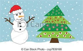snowman christmas tree festive snowman and christmas tree vector search clip
