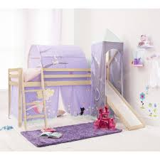 girls bunk bed with slide cabin bed with slide tent tower and tunnel in fairies design