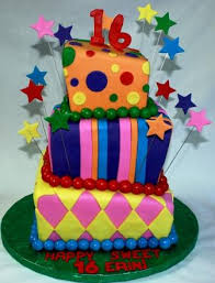 colorful square 3 tiered topsy turvy sweet 16 birthday cake