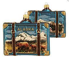 alaska travel suitcase blown glass ornament