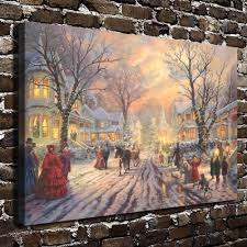 home interiors thomas kinkade prints h1127 thomas kinkade victorian christmas carol hd canvas print
