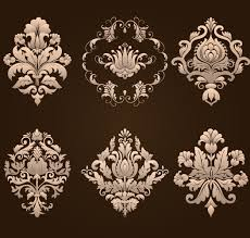 ornamental floral damask elements vector material 03 vector