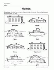 identify the home worksheet teachervision