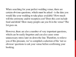 wedding venue questions questions to ask your wedding venue