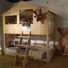 cabane de chambre lit cabane simple ou superposé en bois pour chambre d enfants