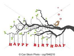 vector clipart of happy birthday card with bird happy birthday