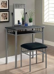 Glass Vanity Table With Mirror Amazon Com Monarch Specialties Black And Silver Metal Vanity Set