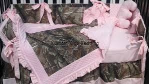 real tree camouflage and pastel pink crib bedding set