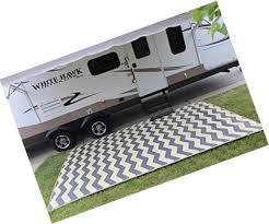 rv patio rug indoor outdoor camping mat chevron pattern 9x16 ebay
