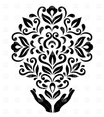 stylized holding floral ornament vector clipart image