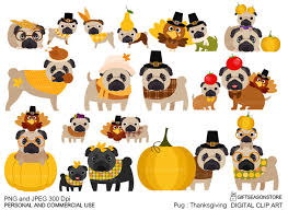 thanksgiving pug digital clip for personal and commercial